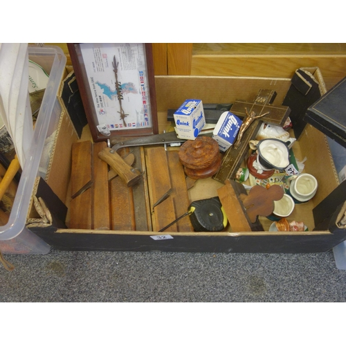 32 - Box containing old tools, various bric a brac and Toby Jugs...