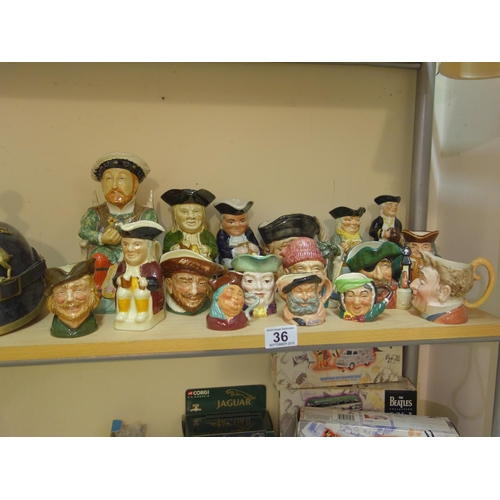 36 - Shelf containing a large amount of Royal Doulton and other Toby jugs various sizes, 18 items...