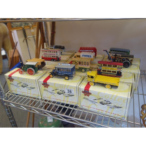 38 - Matchbox collection of die cast toys, 12 items vintage coaches and  tractors,...
