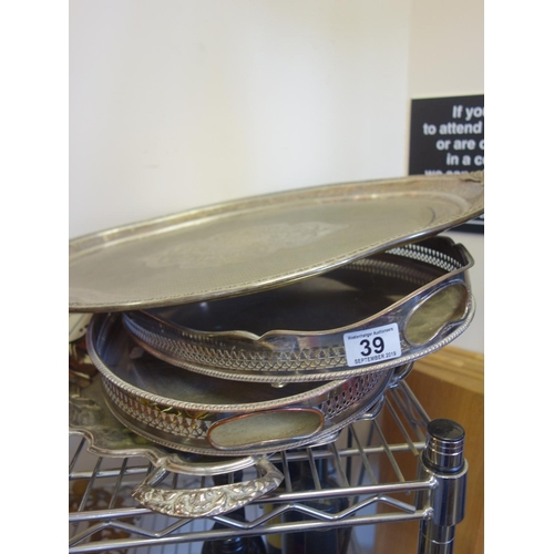 39 - 4 x assorted vintage or antique silver plated trays, including galleried trays,...