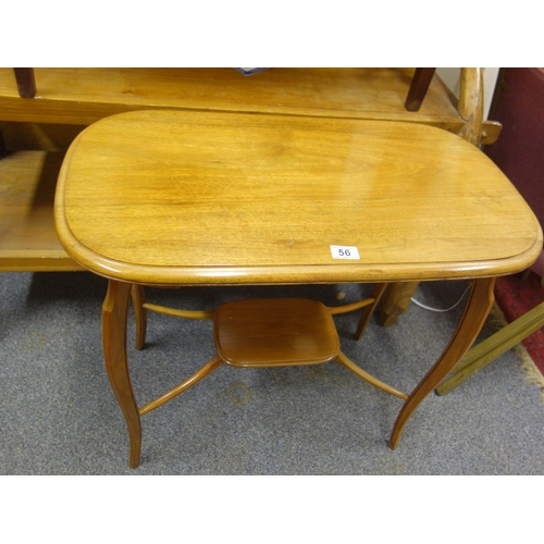 56 - Mahogany small hall table with a single drawer above a small shelf below uniting the legs,...