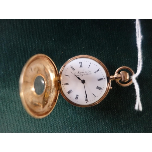 109 - Delicate 14ct gold Vintage Ladies Half Hunter Fob Watch makers mark to dial C.Marcks & Co Bombay & P...