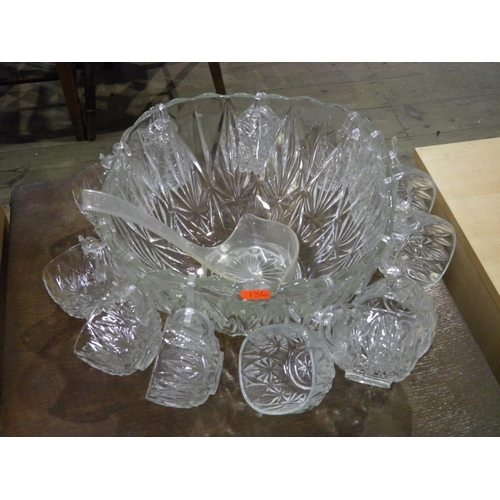 110 - Large glass punch bowl set...
