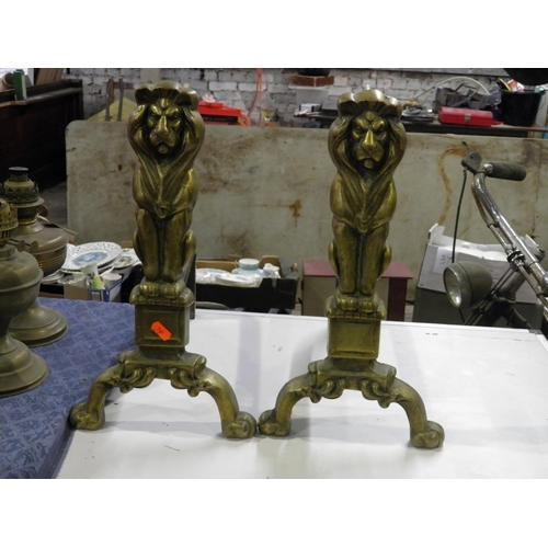 22 - Brass Lion Fire Irons...