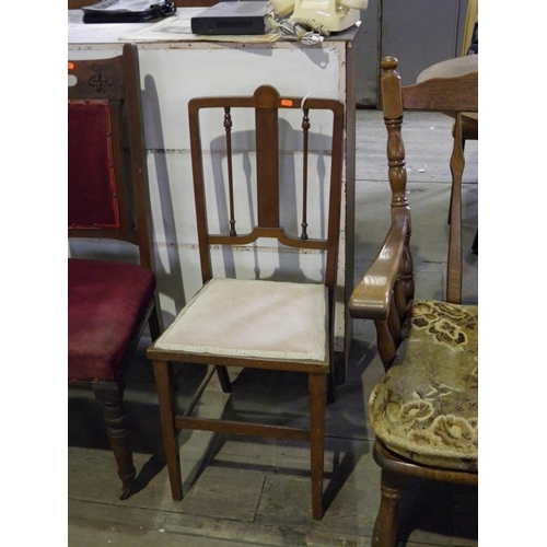 56 - Pretty Antique  Chair with pink upholstery...