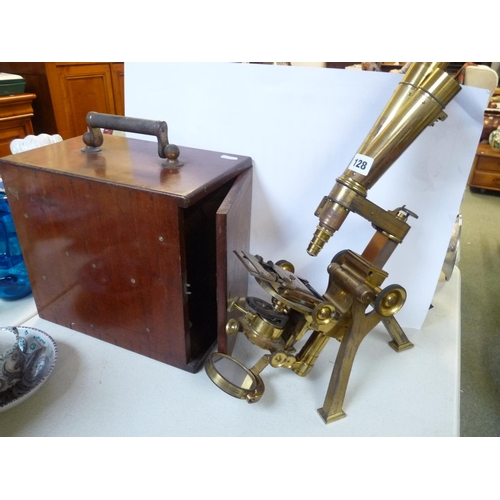128 - Powell & Lealand of 170 Euston Road London Brass Binocular microscope in Mahogany case...