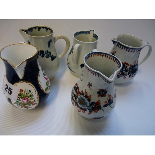 25 - Collection of 5 18thC Worcester Sparrow beak jugs inc Game Pheasants, Blue & White Bird in a Ring Pa...