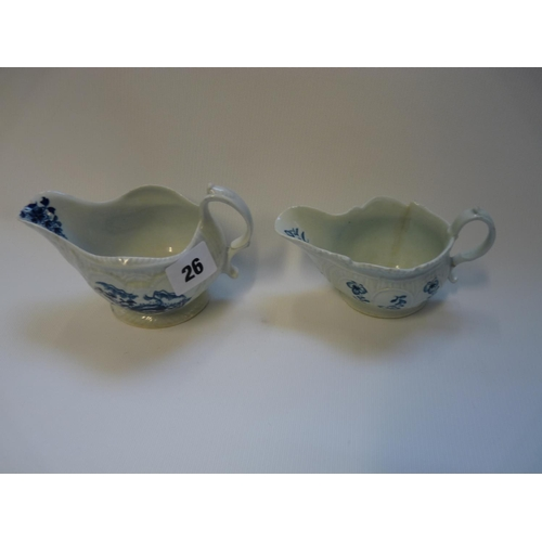 26 - Liverpool 18thC Philip Christian Boulder pattern sauce boat and a floral sprig pattern boat...
