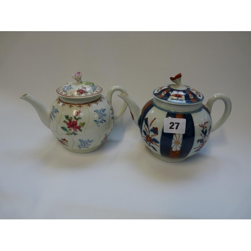 27 - 18thC Worcester Japan pattern Teapot and a Worcester floral decorated ovoid teapot...