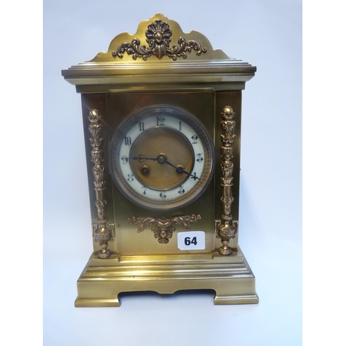 64 - Edwardian Brass cased clock mantel clock with french 8 day movement, applied column foliate decorati...