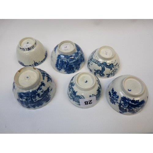 28 - 6 18thC Blue & White Worcester Birds in Branches pattern, Chinese Pattern etc...