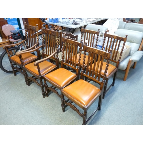 418 - Good Quality Oak Set of 6 Barley twist chairs with drop in seats...