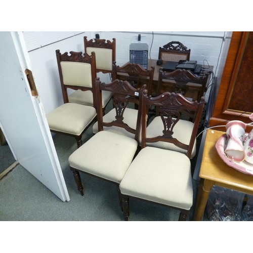 420 - Set of 4 Edwardian upholstered chairs and 2 others...