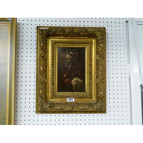 302 - Gesso Framed Oil on board of Still Life unsigned...