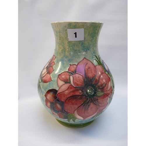 1 - Large Moorcroft Poppy decorated vase of green mottled ground for Moorcroft Collectors Club 1990 Stam...