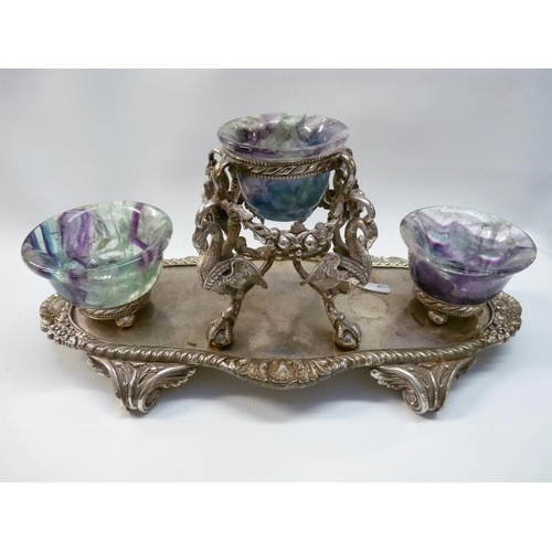 10 - Derbyshire Blue John table centrepiece, 19thC Silver plated foliage and swan supported stand surmoun...