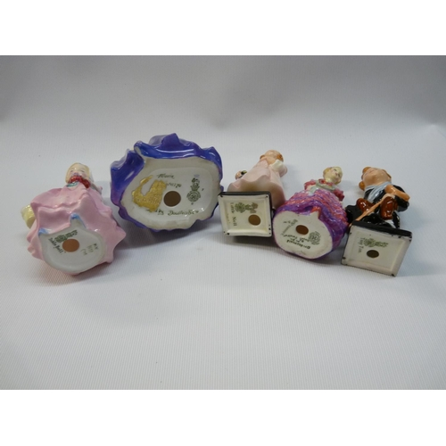 17 - 5 Royal Doulton figurines to include Marie HN1370, Tinker Bell HN 1677, Bridesmaid M30, Little Nell ...