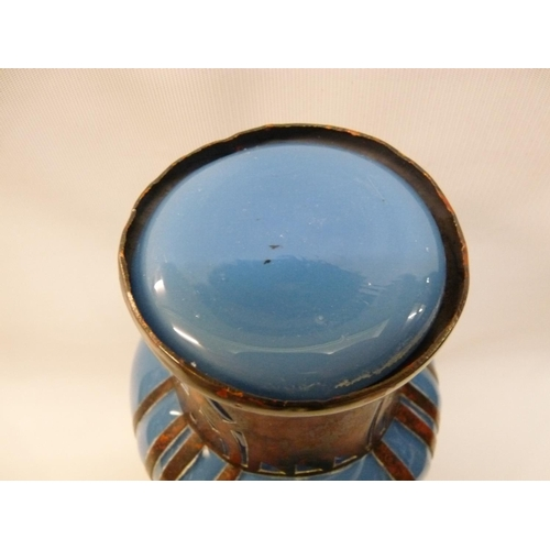 18 - Loetz style opaque blue glass copper overlay vase 26cm in Height...