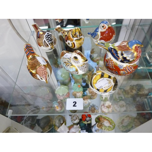 2 - 6 Assorted Royal Crown Derby Paperweights and a Bee Paperweight with Gold Buttons to base...