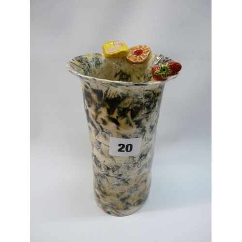 20 - Christine Dodd for Liberty Novelty vase with Biscuit and Strawberry decoration, handpainted mark to ...
