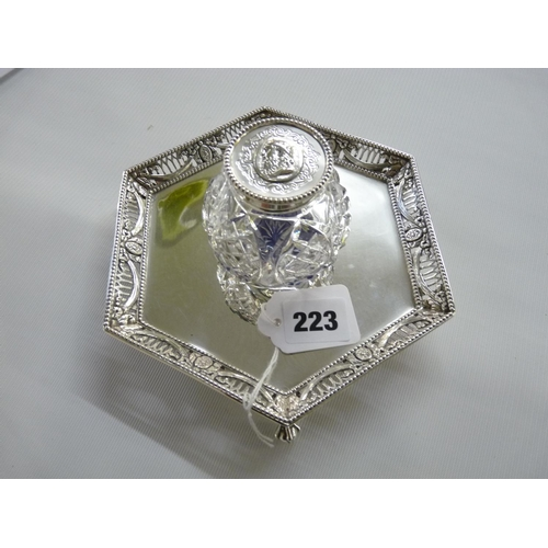 223 - Good Quality John Figg of London 1870 Silver pierced inkwell desk stand with cut glass inkwell, supp...