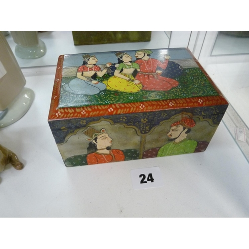 24 - Interesting Persian Hand painted hinged box with figural decoration, 15 cm in length...