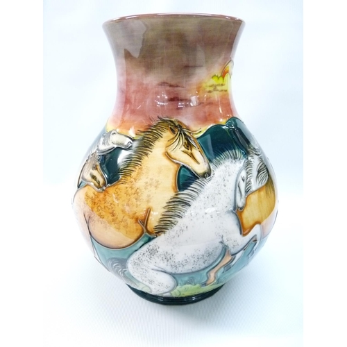 25 - Rare Colourways Stampede pattern vase decorated by Jackie Rowe depicting horses in the American West...
