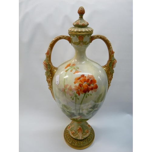 27 - Large Royal Worcester two handled Geranium decorated vase by Frank Roberts with gilded mask handles,...