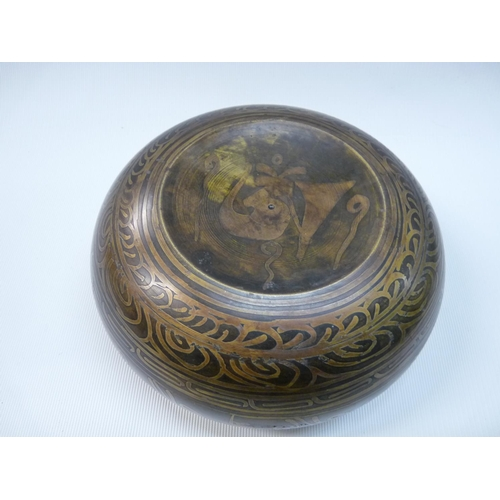 28 - Late 19thC Tibetan Singing bowl with buddha relief decoration to interior, markings to base, 156cm i...