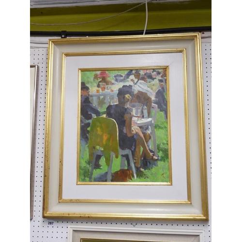 287 - Mark Rowbotham Oil on canvas 'Lady In Black' 34cm x 44cm framed...