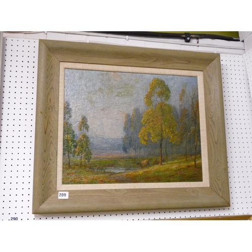 289 - Baxter Morgan Oil on canvas of a Woodland scene, 49cm x 39cm...