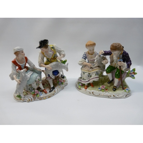 29 - Pair of Good Quality early 20thC Sitzendorf figural groups of Sheep farming scenes, underglaze marks...
