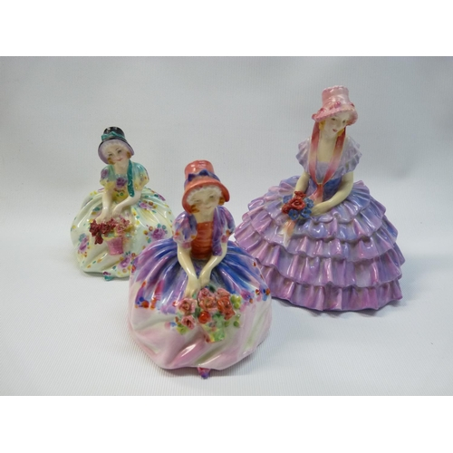 30 - 3 Royal Doulton figurines to include Monica HN 1458, Monica 1467 & Chloe HN 1479...