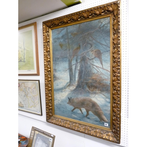308 - Charles Whymper, Watercolour of Fox and Pheasant in Snow scene, signed to bottom left, Gilt Gesso Fr...