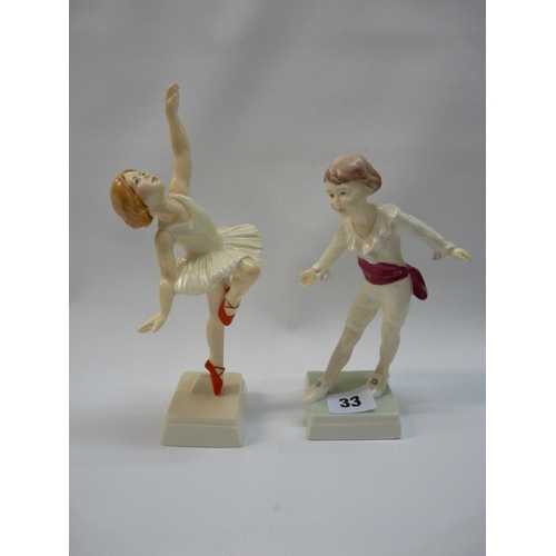 33 - 2 Royal Worcester figurines of Masquerade Boy 3359 & Red Shoes 3258...