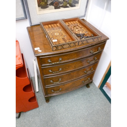 347 - 4 drawers with brass drop handles supported on small cabriole feet...