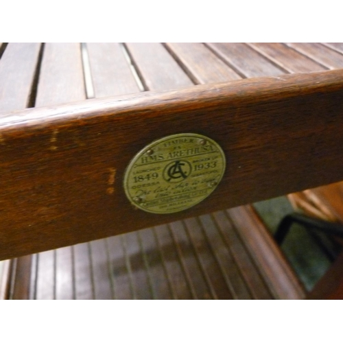 349 - Interesting Hardwood slatted buffet trolley made from the timber of HMS Arethusa 1849-1933...
