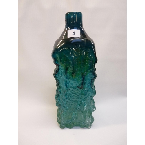 4 - Large Whitefriars Turquoise bark effect bottle with ground base, 33cm in Height...