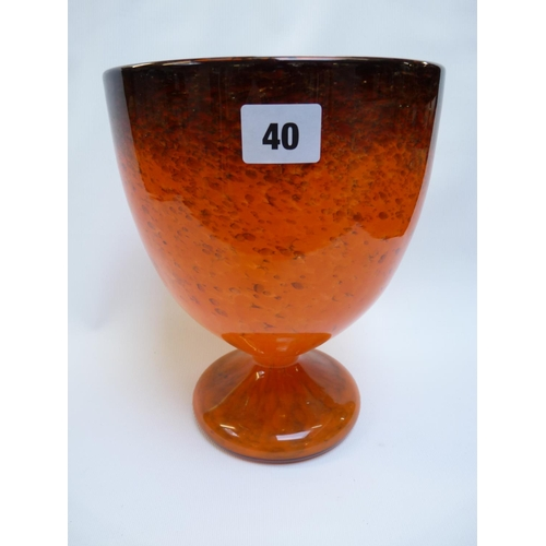 40 - Good Quality Monart Orange and gilt flaked goblet vase with paper Monart label to base, 23cm in Heig...