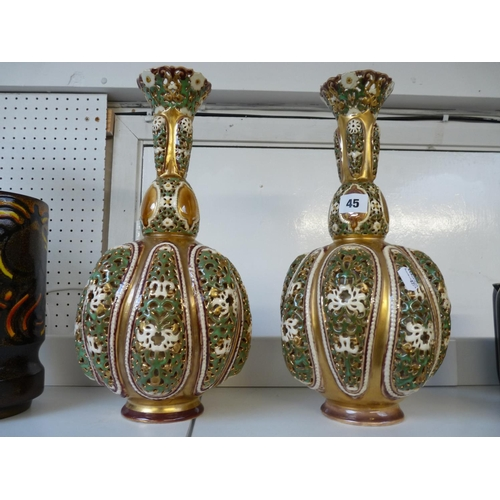 45 - Pair of Zsolnay Reticulated Pierced Double Walled vases of Baluster form with highly gilded ground, ...