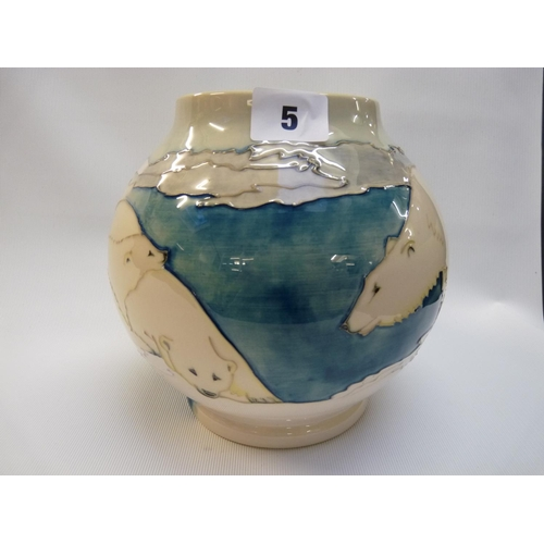 5 - Moorcroft Trial Polar Bear Spherical vase of white ground, bought from the Moorcroft Collectors Club...