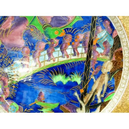 8 - Rare Wedgwood Fairyland Lustre Plate by Daisy Makeig Jones, Rare variation of Imps on a Bridge & Tre...