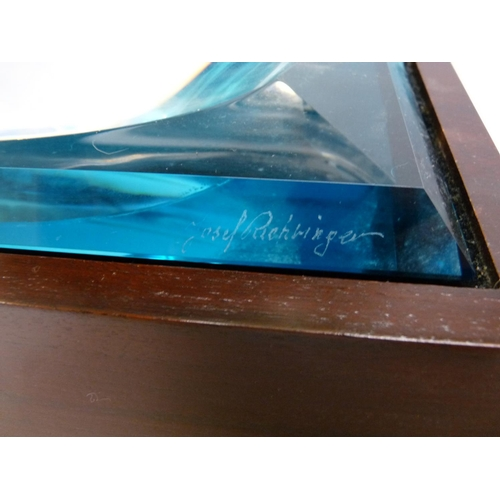 9 - Interesting One of a Kind Glass Sculpture of a Speed boat on Led wooden base with power supply engra...