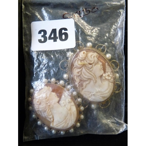 346 - 2 9ct Gold mounted Cameos in seed pearl rub over settings...