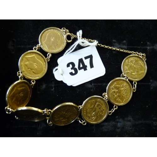 347 - Ladies bracelet set with 8 Half Gold Sovereigns all circa 1900 in 9ct rub over settings, 40.8g total...