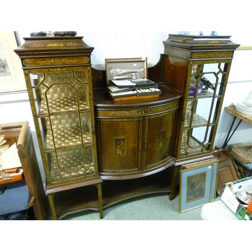 477 - High Quality Edwardian Heavy Mahogany bow fronted display cabinet with hand painted panels flanked b...