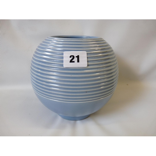 1930s Art Deco Carltonware Spherical Vase With Ribbed Decoration In