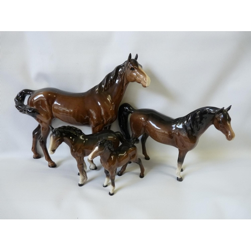 3 - Collection of assorted Chestnut and dark backed Beswick Horses...
