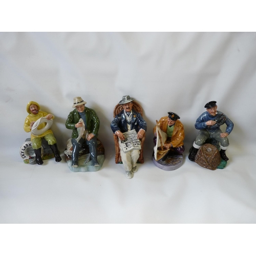 5 - Collection of 5 Royal Doulton figurines inc. The Boatman HN 2417, A Good Catch HN 2258, Taking thing...