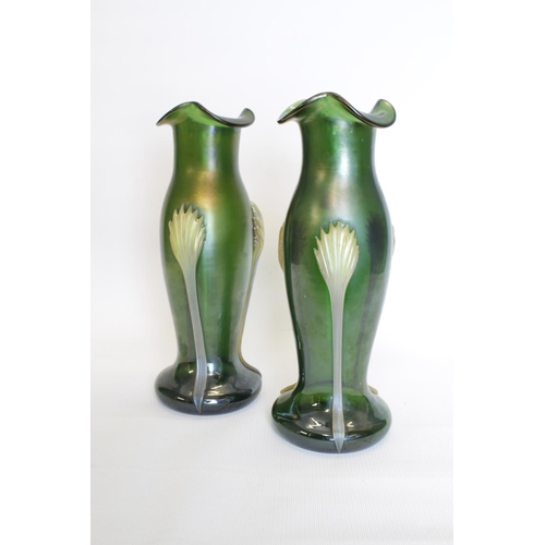 23 - Pair of Art Nouveau Loetz style green flared vases with applied Opaque decoration,. 22cm in Height...